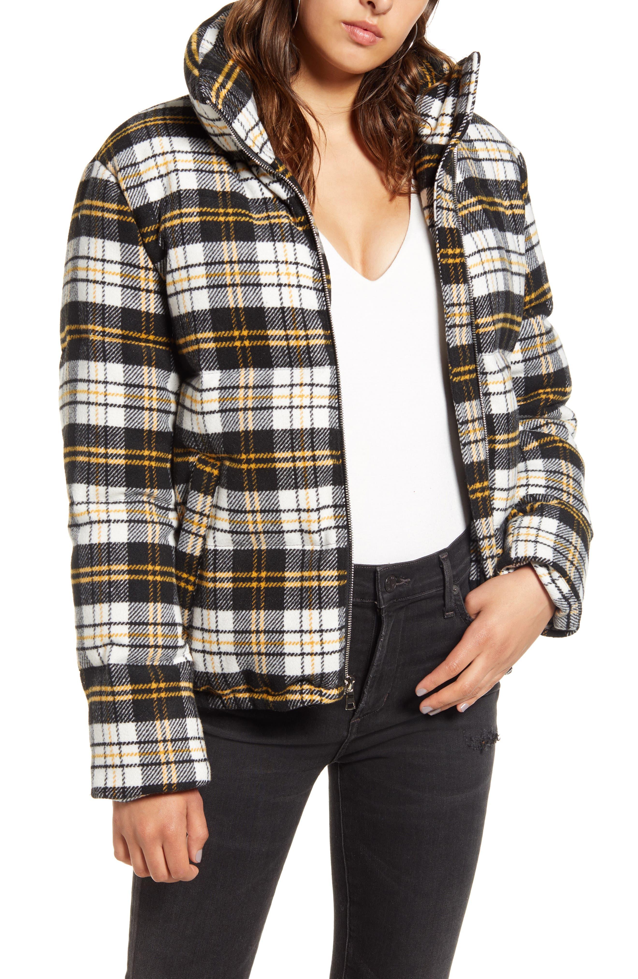Kendall + Kylie Coats Plaid Bomber Puffer Jacket