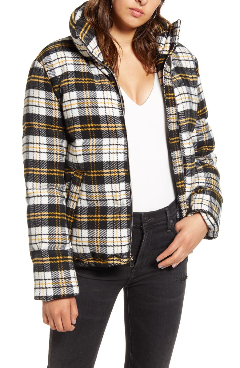 KENDALL + KYLIE Plaid Bomber Puffer Jacket, Main, color, 009