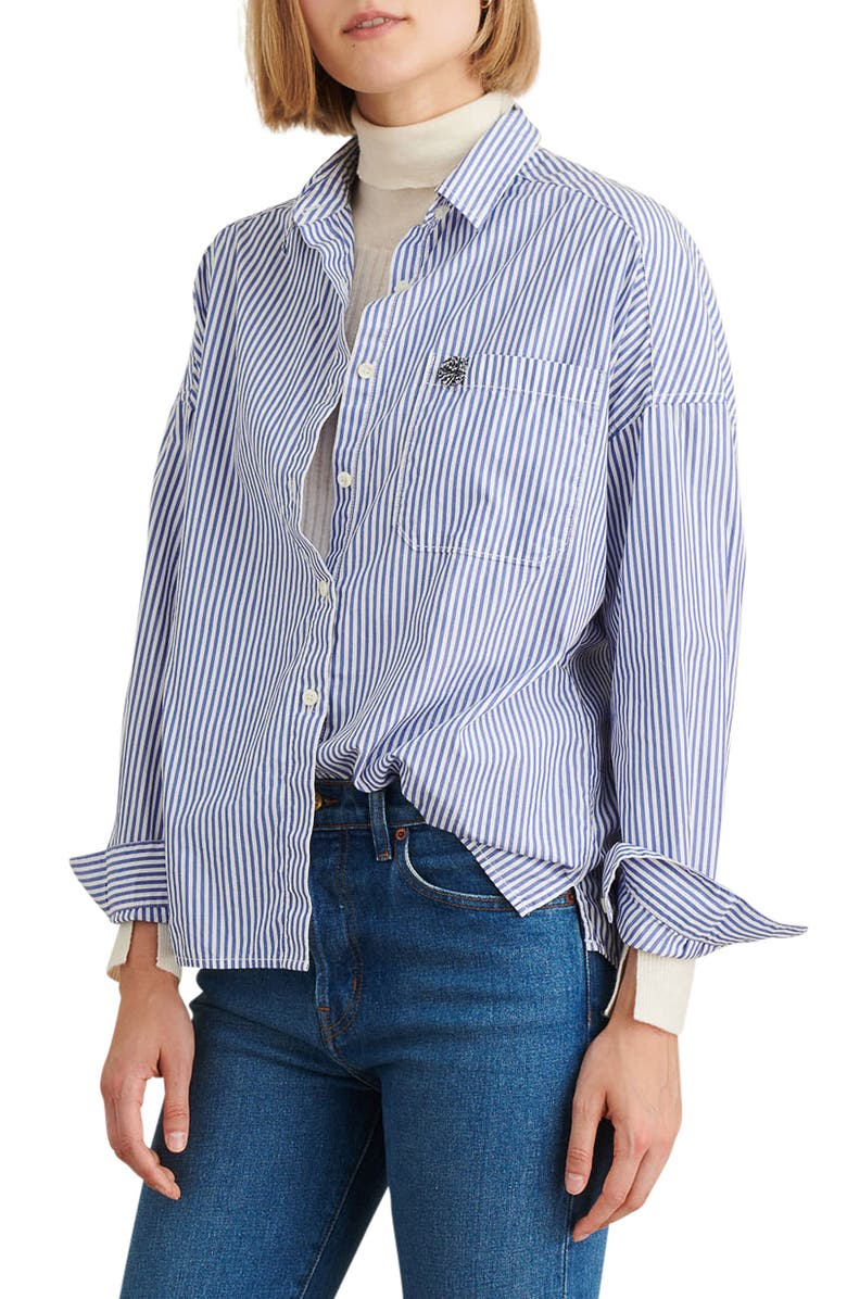 ALEX MILL Oversize Stripe Shirt, Main, color, BLUE/ WHITE