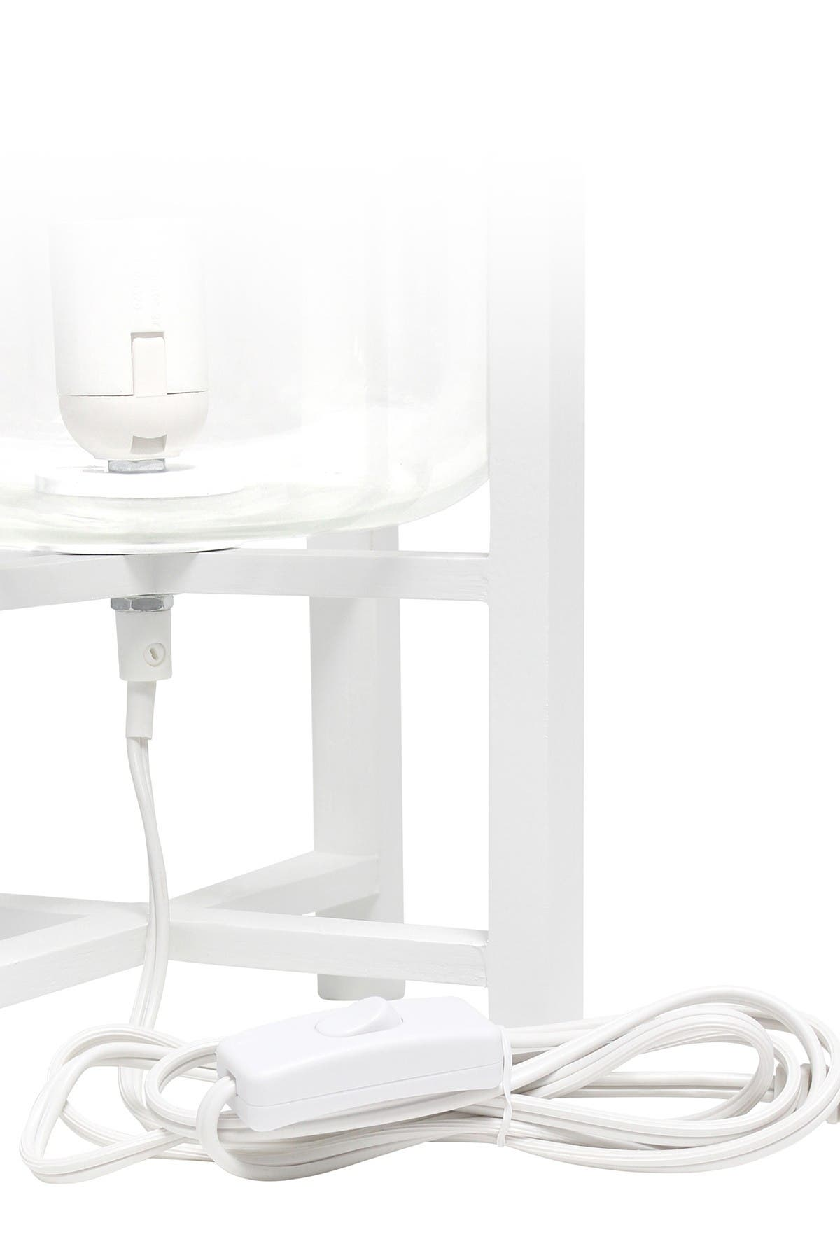 Image of LALIA HOME Simple Designs White Wood Mounted Table Lamp with Clear Glass Cylinder Shade