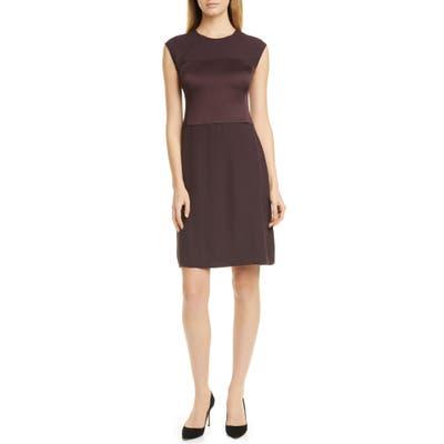 Boss Desma Satin & Matte A-Line Dress, Burgundy