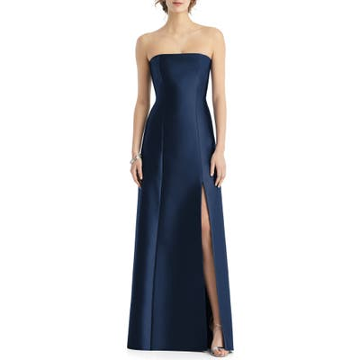 Alfred Sung Strapless Side Slit Satin Gown, Blue