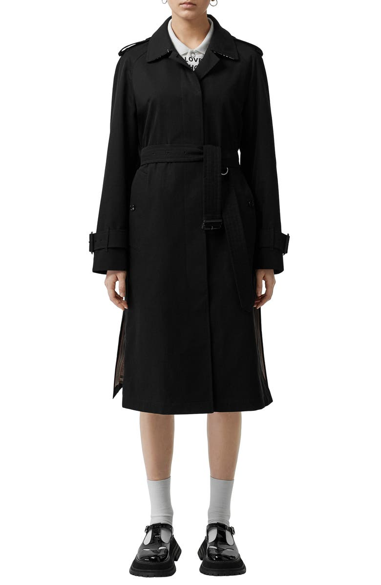 BURBERRY Crostwick Side Slit Tropical Gabardine Trench Coat, Main, color, BLACK