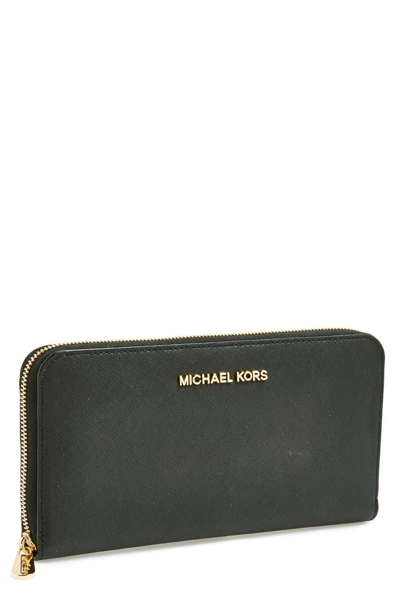 MICHAEL MICHAEL KORS 'Jet Set' Travel Wallet, Main, color, 001
