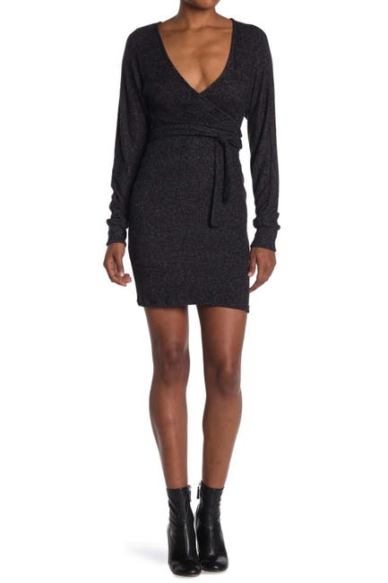 Image of MAX & ASH Solid Print Wrap Style Knit Dress