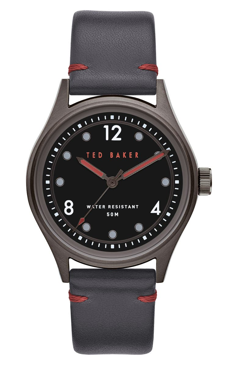 TED BAKER LONDON Beleeni Leather Strap Watch, 40mm, Main, color, GREY/ BLACK