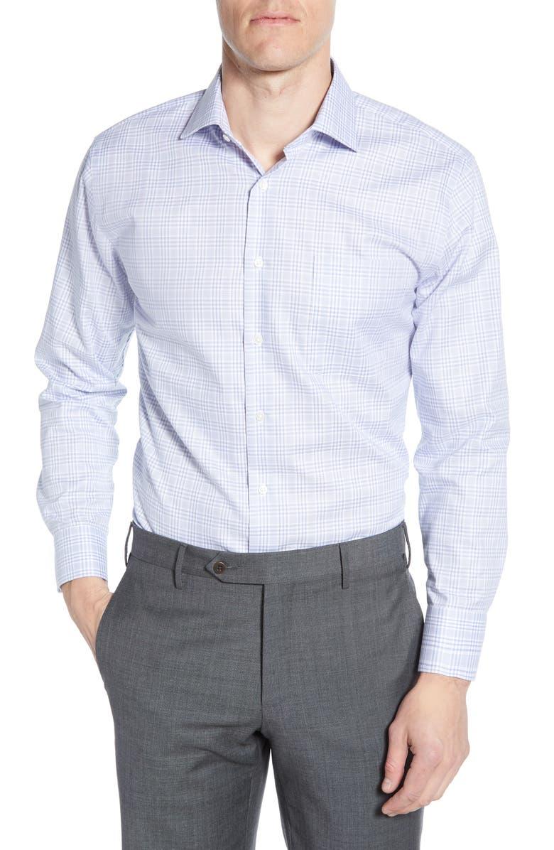 NORDSTROM MEN'S SHOP Trim Fit Non-Iron Plaid Dress Shirt, Main, color, BLUE BRUNNERA