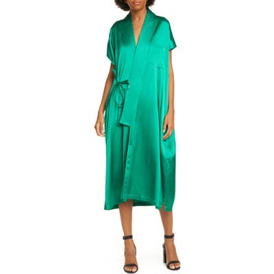 Balenciaga Judo Satin Wrap Midi Dress, 8 FR - Green