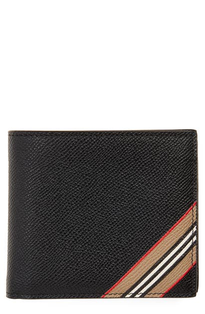 Burberry Icon Stripe Leather Wallet In Black