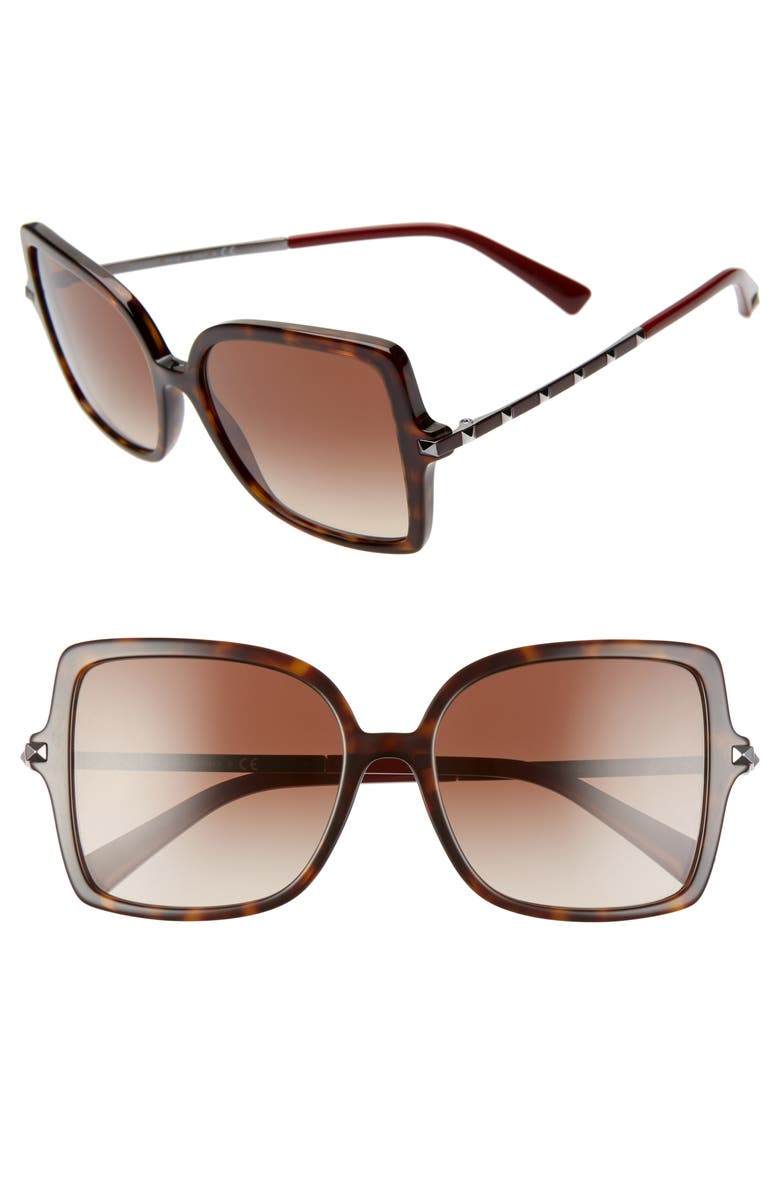VALENTINO 56mm Rockstud Butterfly Sunglasses, Main, color, BROWN HAVANA/ BROWN GRAD