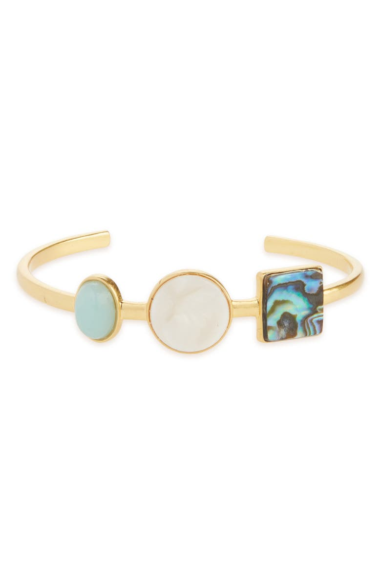 MADEWELL Geo-Stone Cuff Bracelet, Main, color, GOLD/ SHELL MULTI