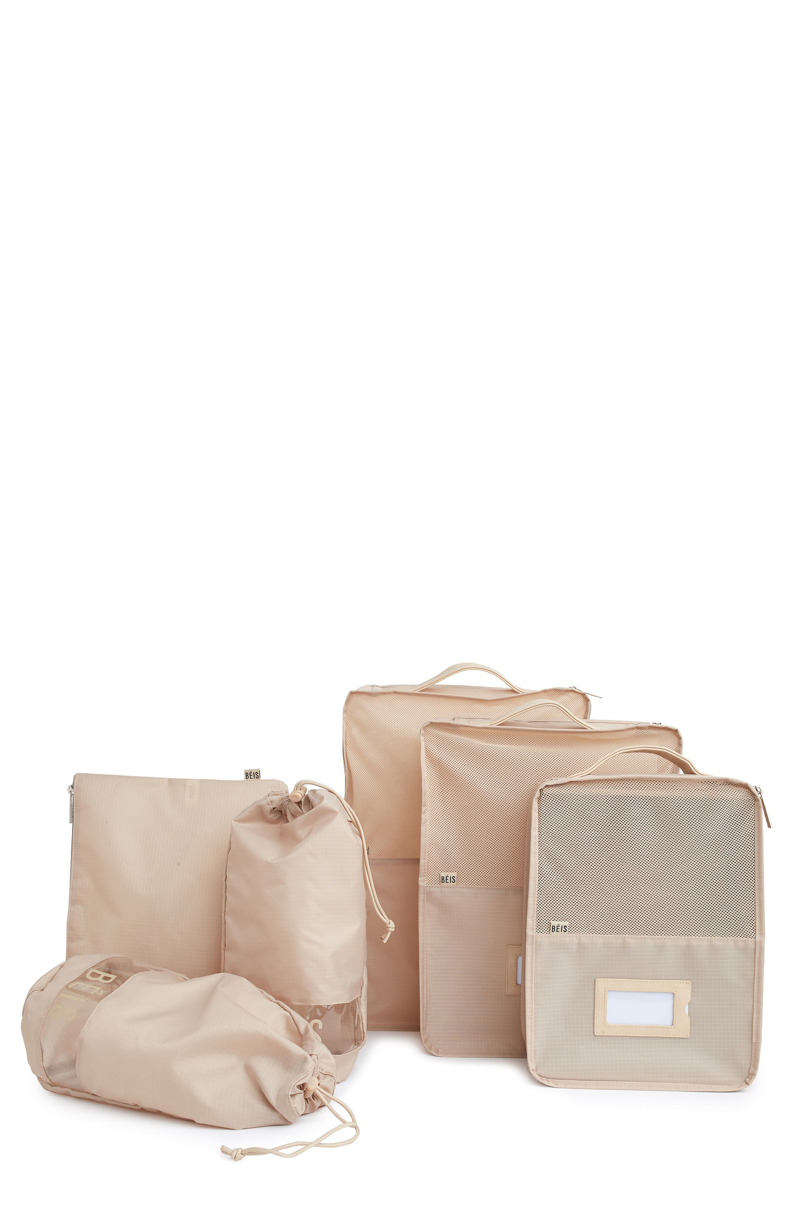 Whether you\\\'re on the go or on a closet-organizing kick, these packing cubes are ideal for keeping all the essentials in place. Small, medium and large cubes, shoe bags and a small zip pouch ensure that there\\\'s a perfect storage option for items of every size. Style Name: Beis The Packing Cube 6-Piece Set. Style Number: 5987910. Available in stores.