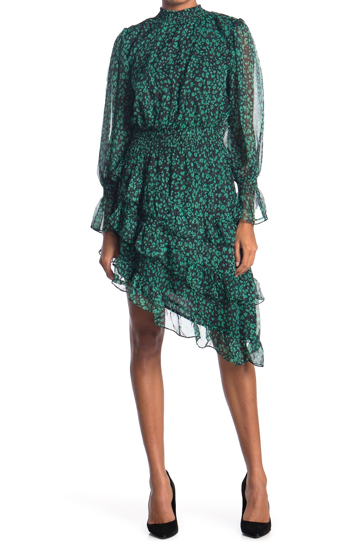Image of Do + Be Printed Tiered Ruffle Long Sleeve Dress