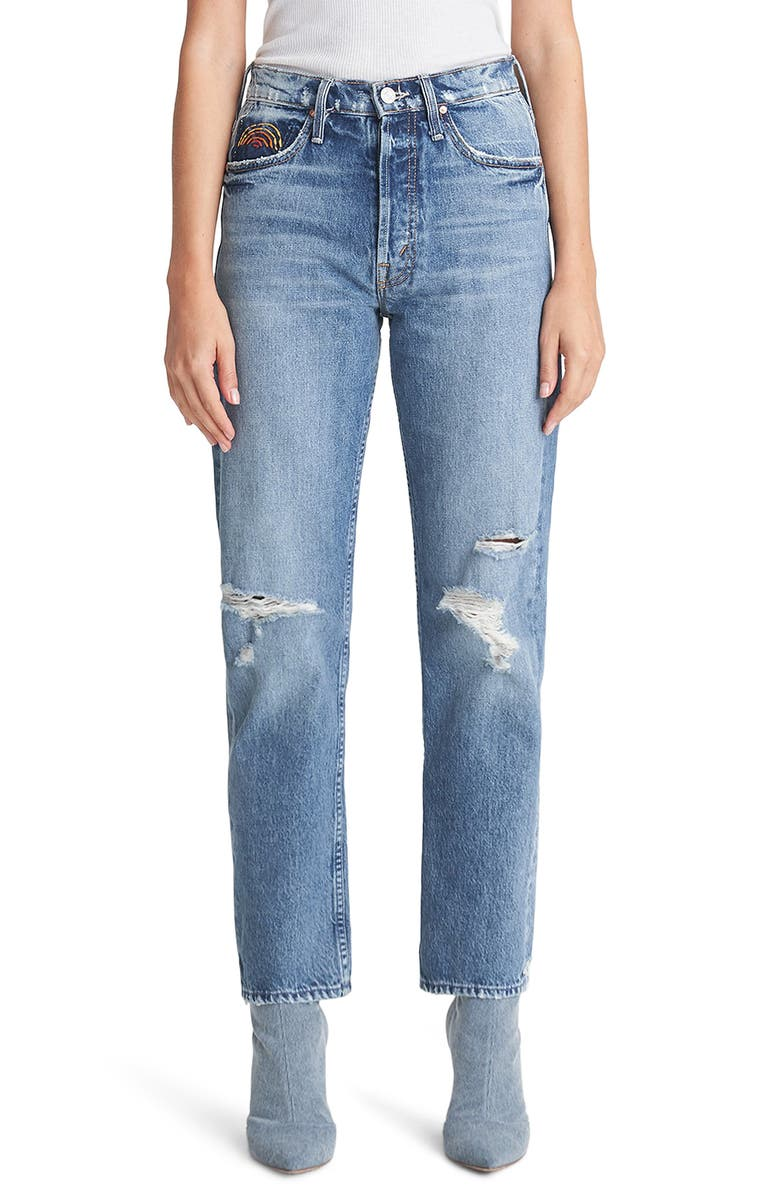 MOTHER The Tomcat Ripped High Waist Ankle Jeans, Main, color, TAKE ME EVEN HIGHER