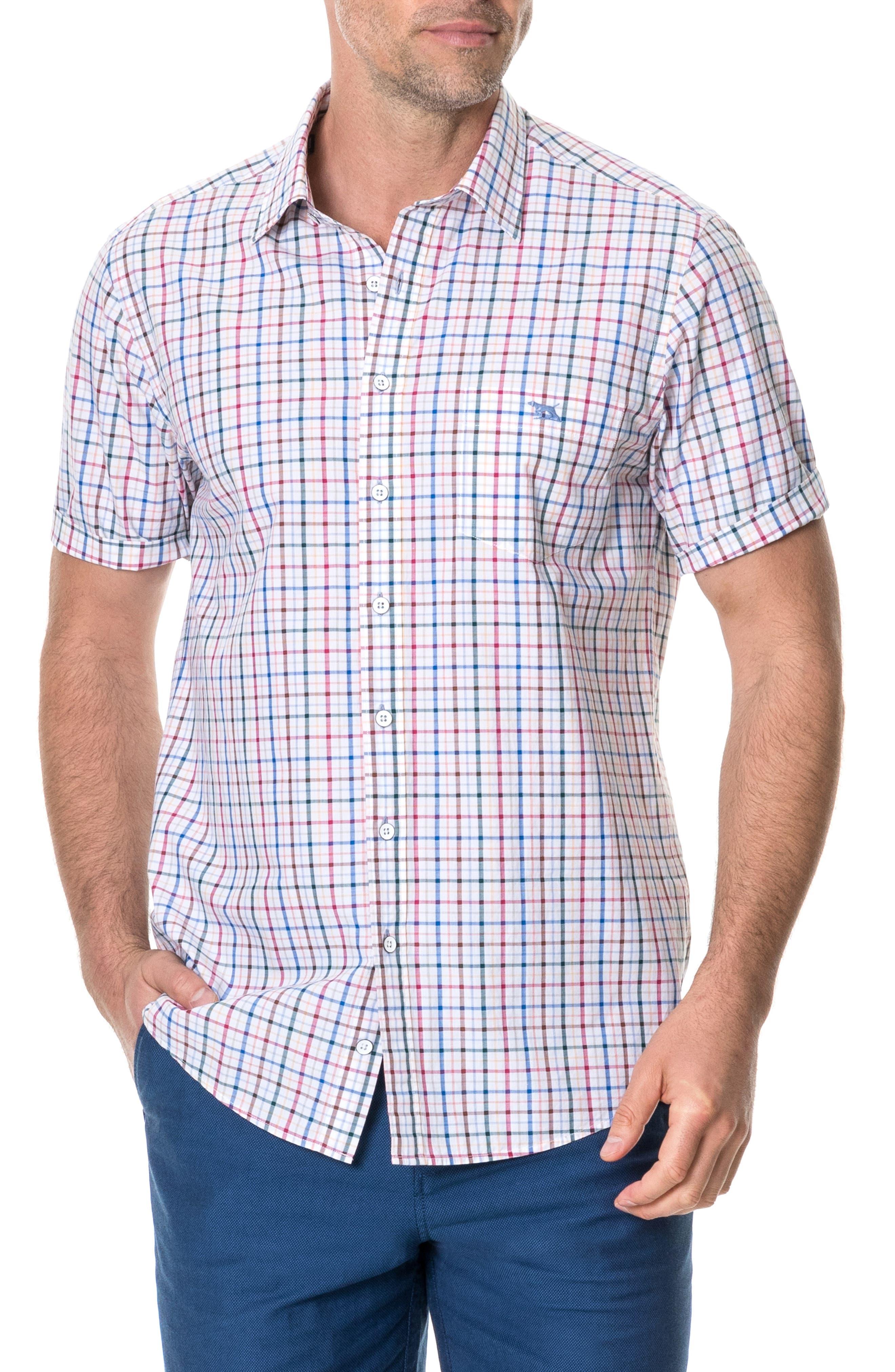 Wilder Regular Fit Check Sport Shirt, Main, color, CORAL REEF