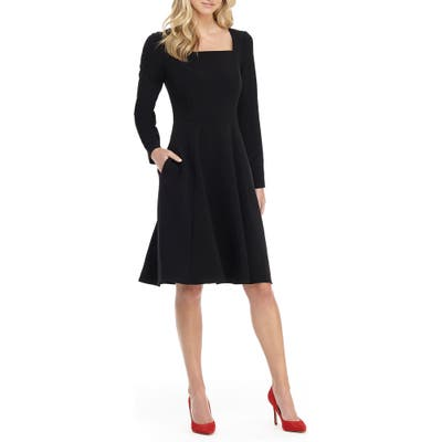 Gal Meets Glam Collection Square Neck Long Sleeve Fit & Flare Dress, Black