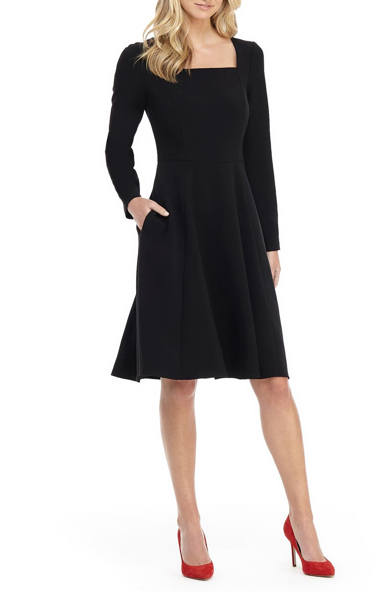 GAL MEETS GLAM COLLECTION Square Neck Long Sleeve Fit & Flare Dress, Main, color, BLACK
