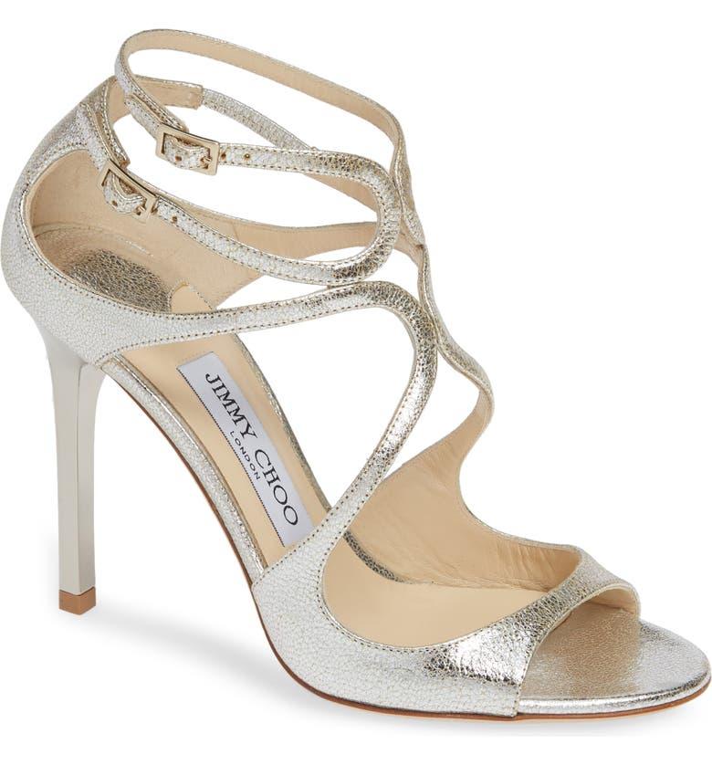 JIMMY CHOO Lang Glitter Leather Sandal, Main, color, CHAMPAGNE