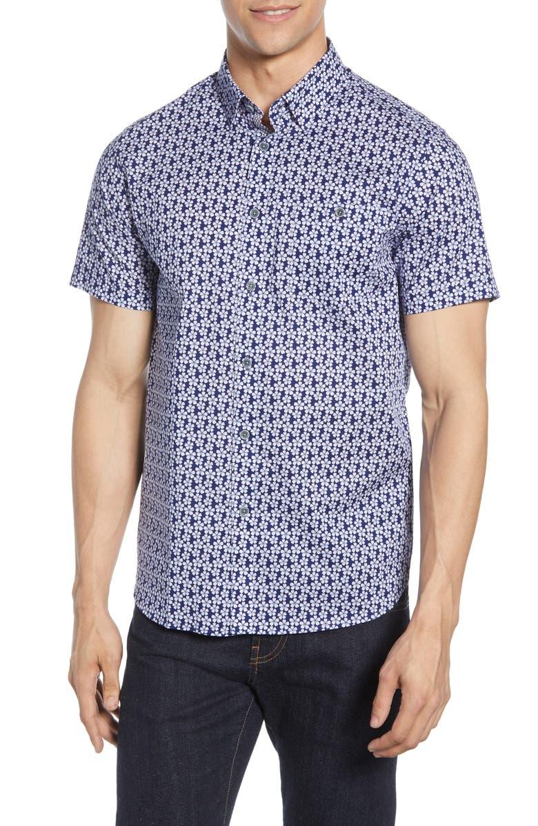 TED BAKER LONDON Slim Fit Floral Print Shirt, Main, color, BLUE
