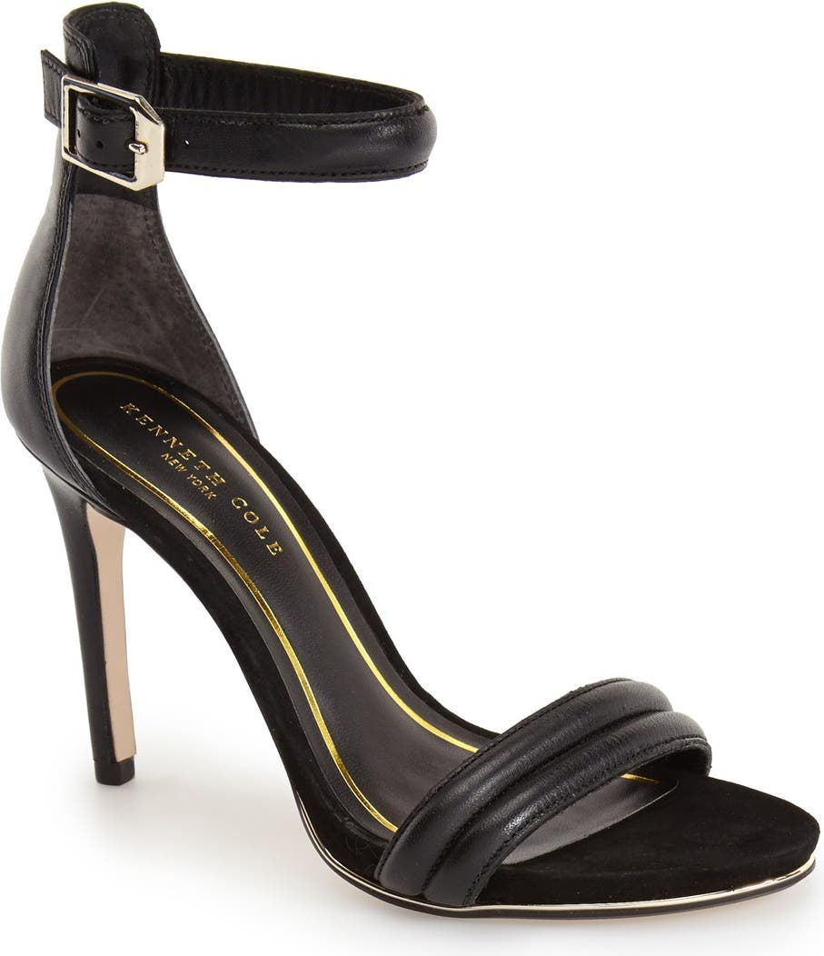 Kenneth Cole New York Womens Brooke Leather Open Toe Formal Ankle Strap Sandals
