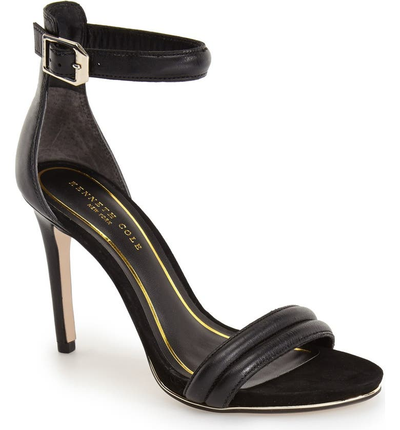 KENNETH COLE NEW YORK 'Brooke' Ankle Strap Sandal, Main, color, BLACK LEATHER