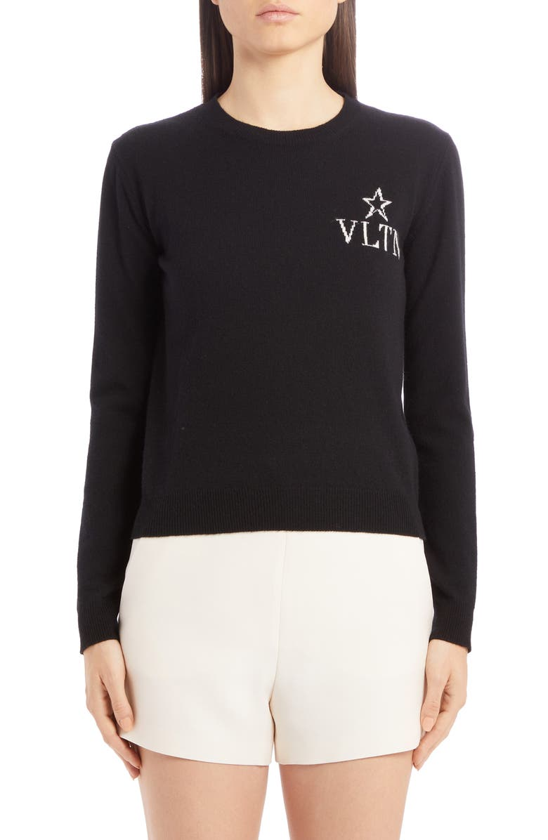 VALENTINO VLTN Star Logo Wool & Cashmere Sweater, Main, color, NERO/ AVORIO