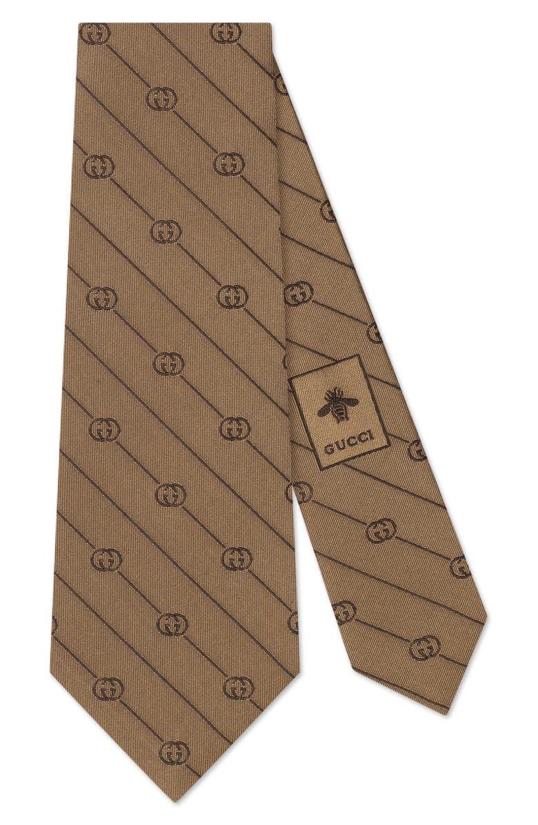 GUCCI GG Logo & Stripe Silk Tie, Main, color, BEIGE