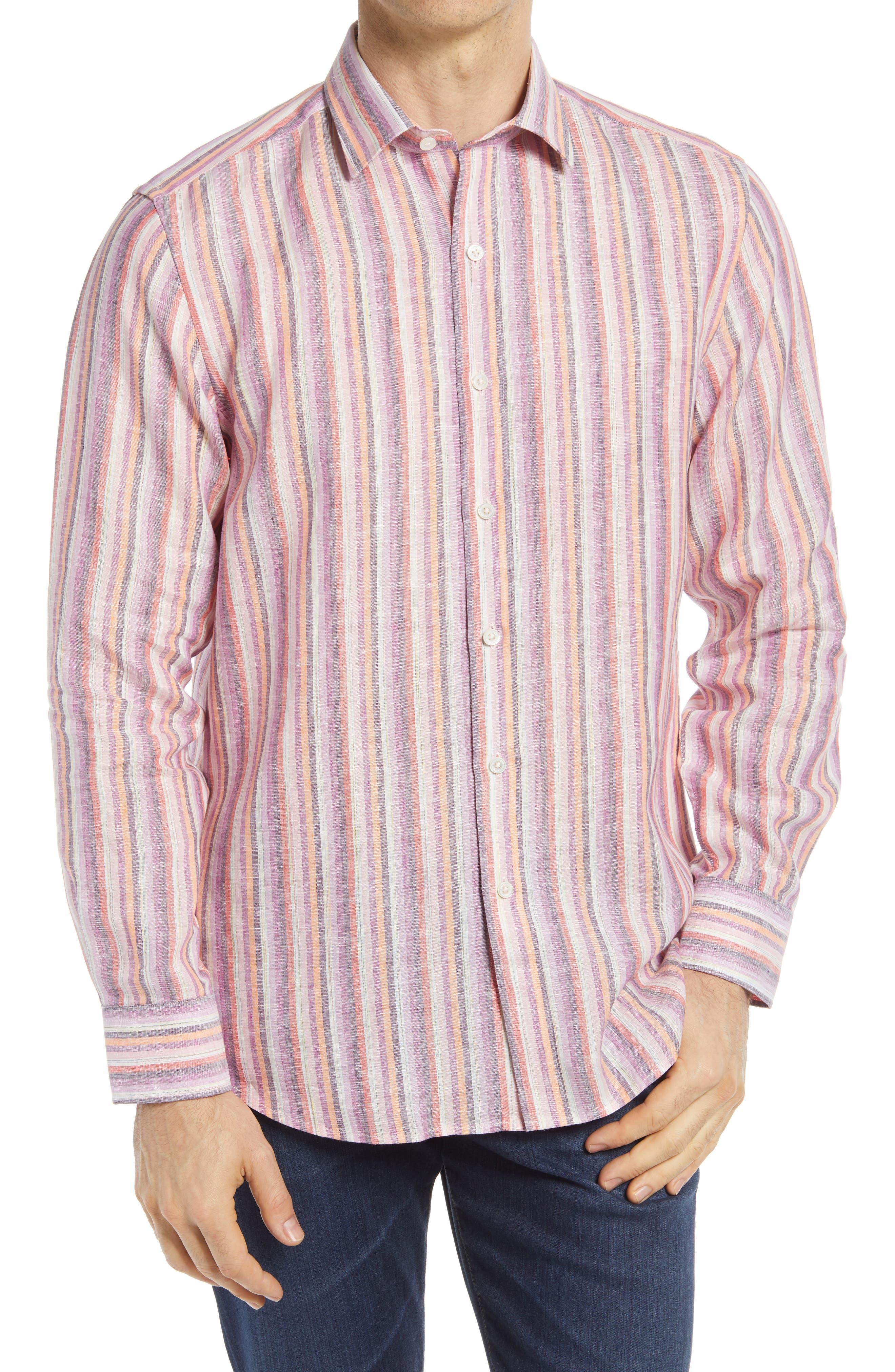 Shaped Fit Stripe Linen Button-Up Shirt
