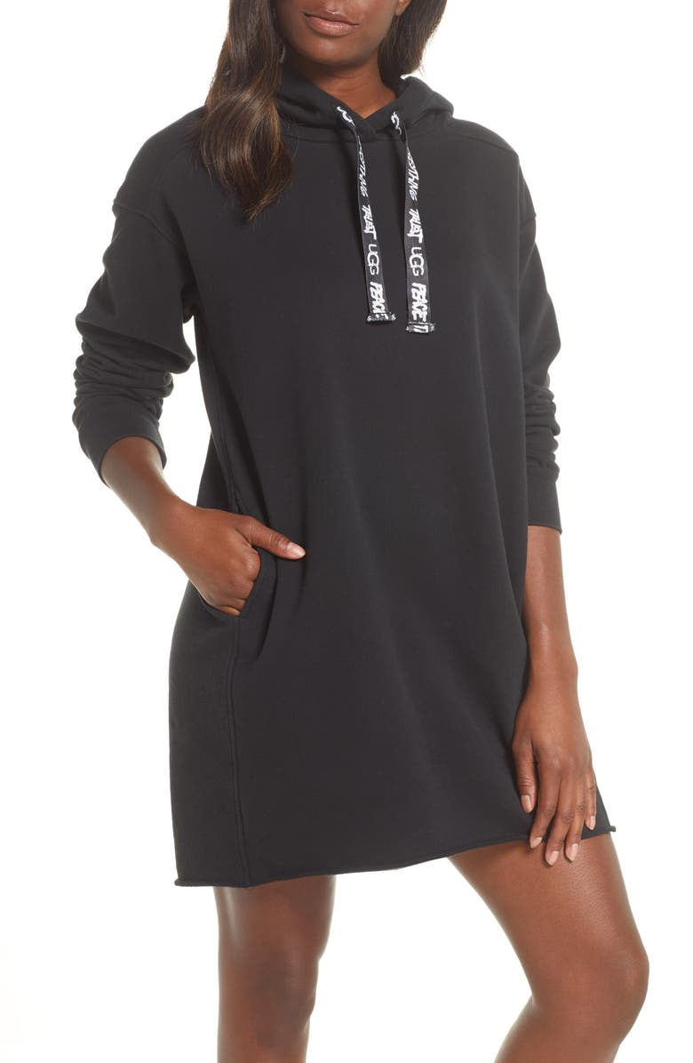 UGG<SUP>®</SUP> Lucille Hoodie Dress, Main, color, BLACK