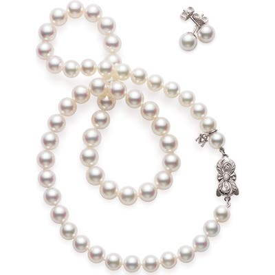 Mikimoto Cultured Pearl Necklace & Earrings Set