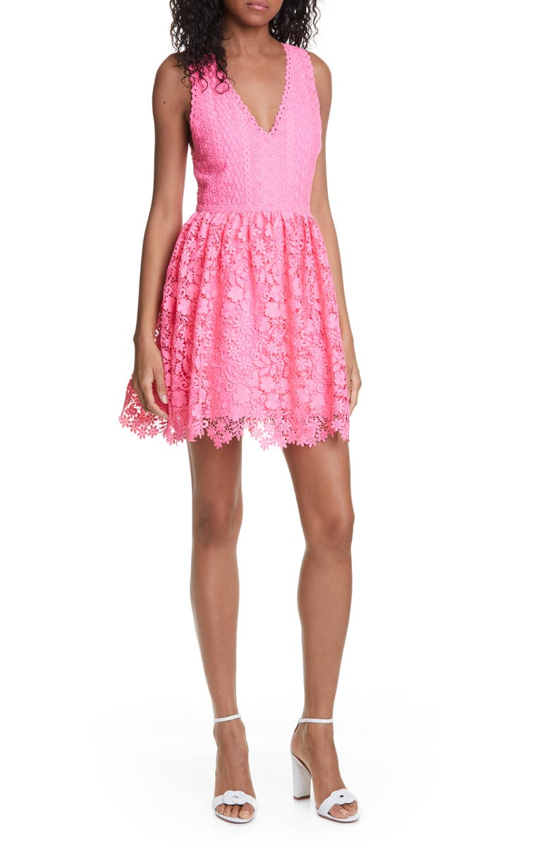 ALICE + OLIVIA Iris Lace Sleeveless Fit & Flare Dress, Main, color, HOT PINK