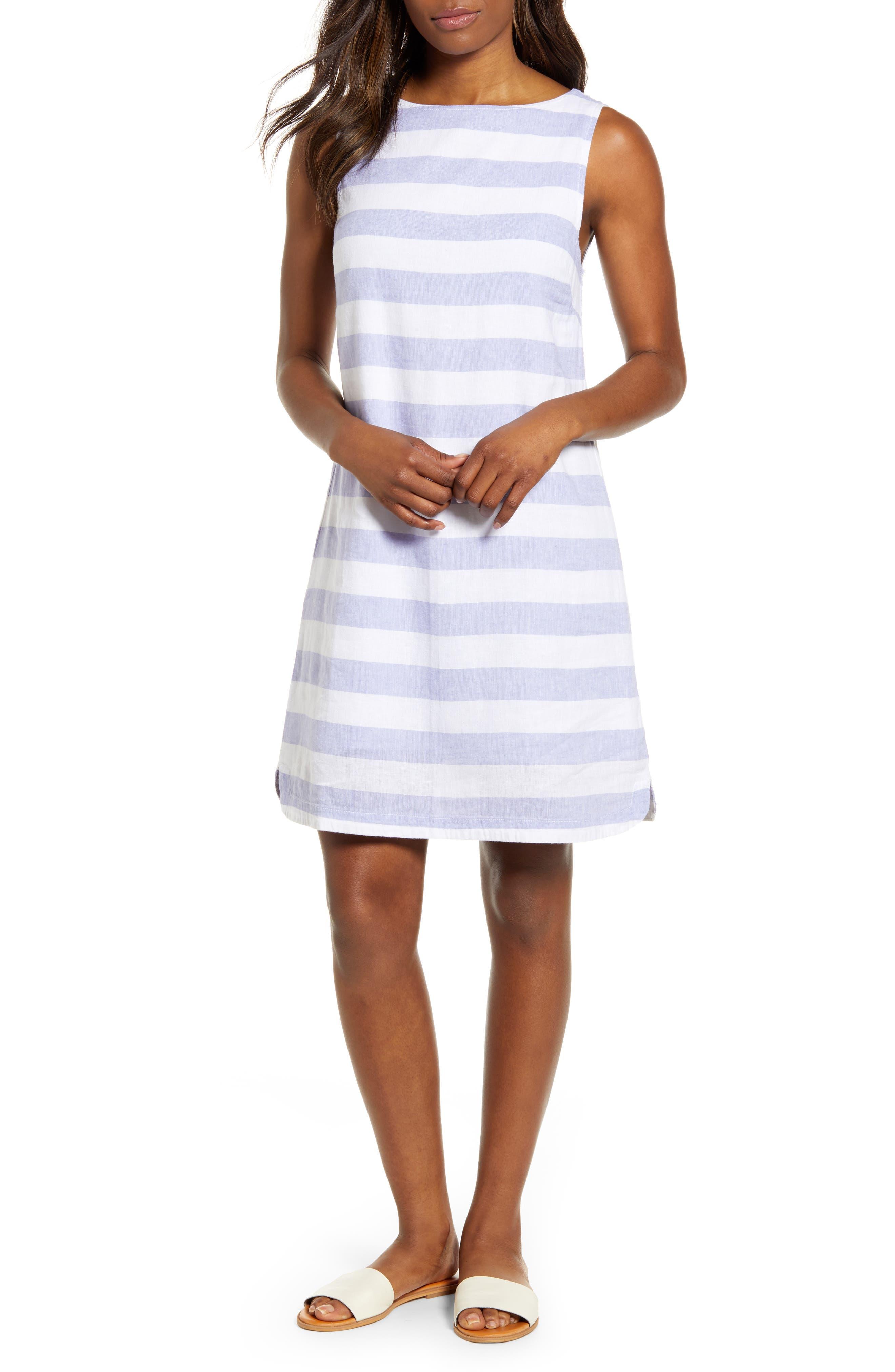 Beachlunchlounge Alina Stripe Linen & Cotton Shift Dress, Blue