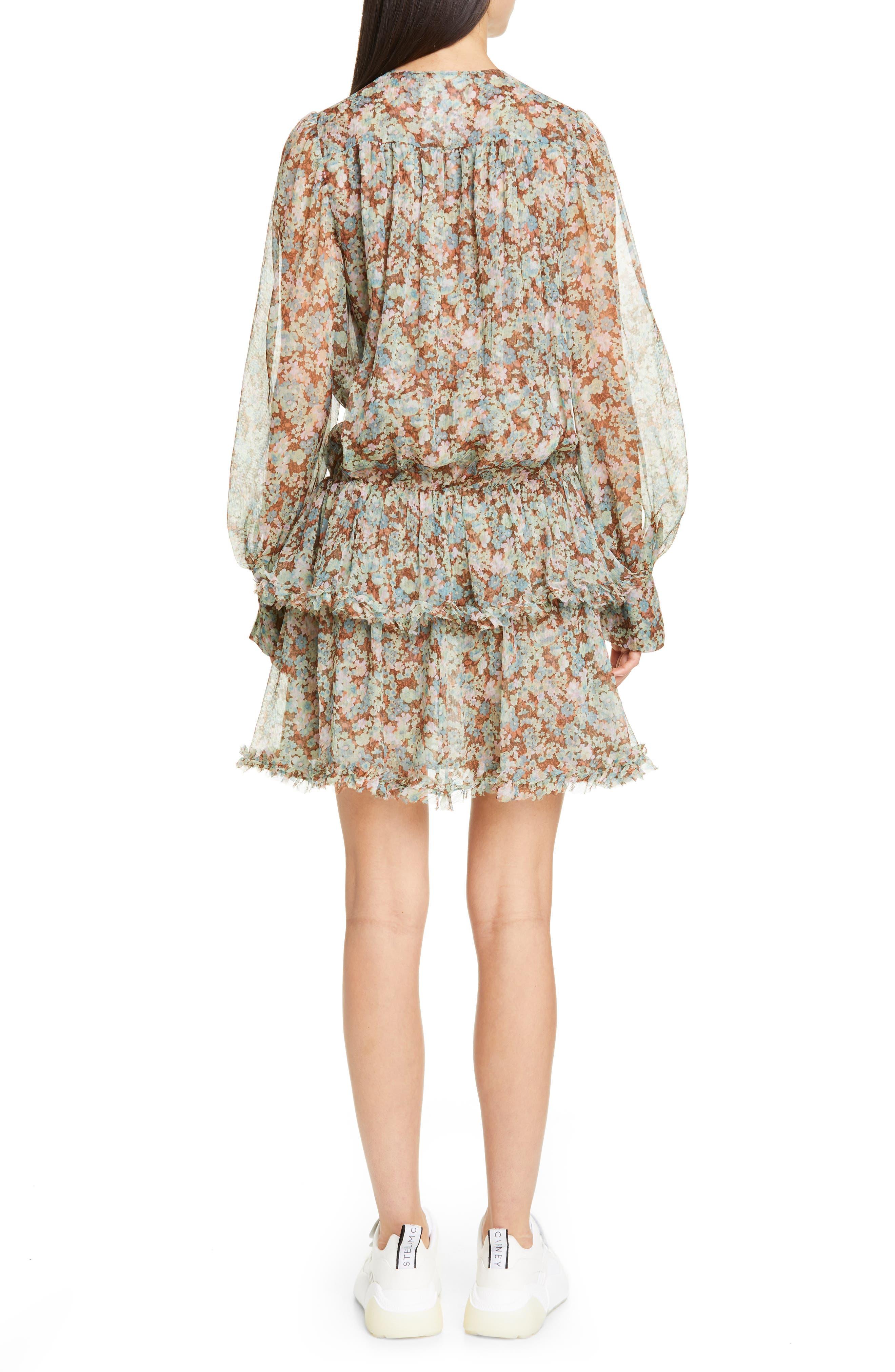 ,                             Meadow Floral Print Silk Dress,                             Alternate thumbnail 2, color,                             MULTICOLOUR