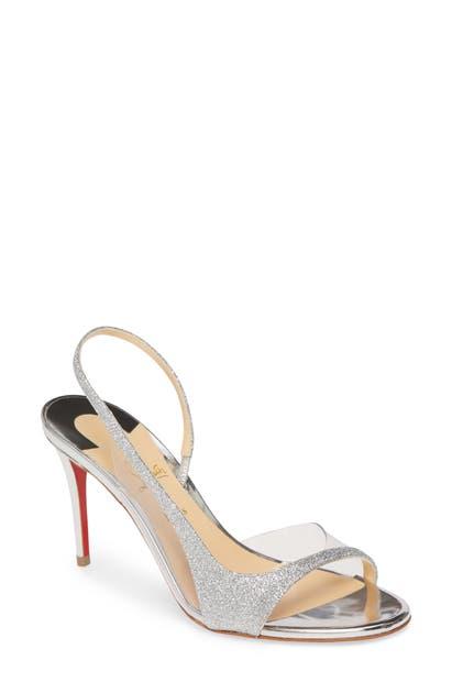 Christian Louboutin Optisling Clear & Glitter Slingback Sandal In Silver