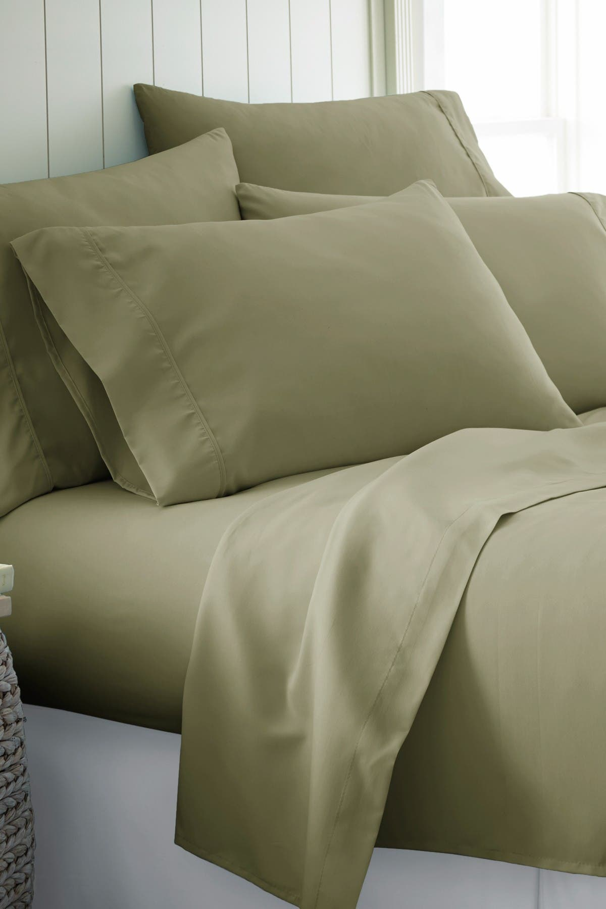 Image of IENJOY HOME Full Hotel Collection Premium Ultra Soft 6-Piece Bed Sheet Set - Sage