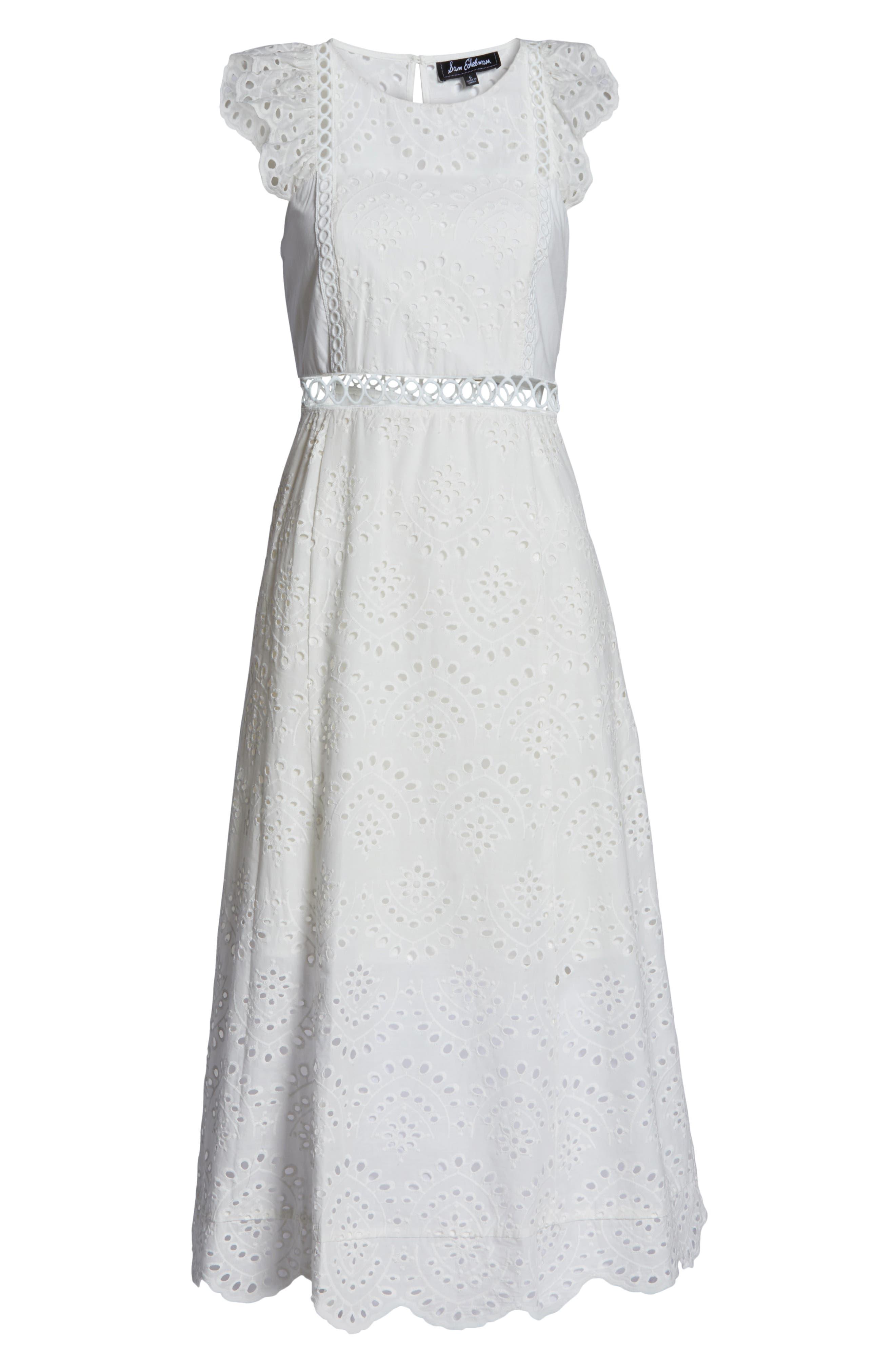 ,                             Eyelet Midi Dress,                             Alternate thumbnail 7, color,                             IVORY