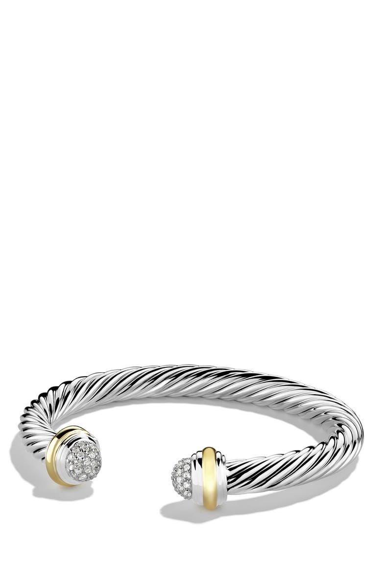 DAVID YURMAN Cable Classics Bracelet with Diamonds and 18K Gold, 7mm, Main, color, DIAMOND