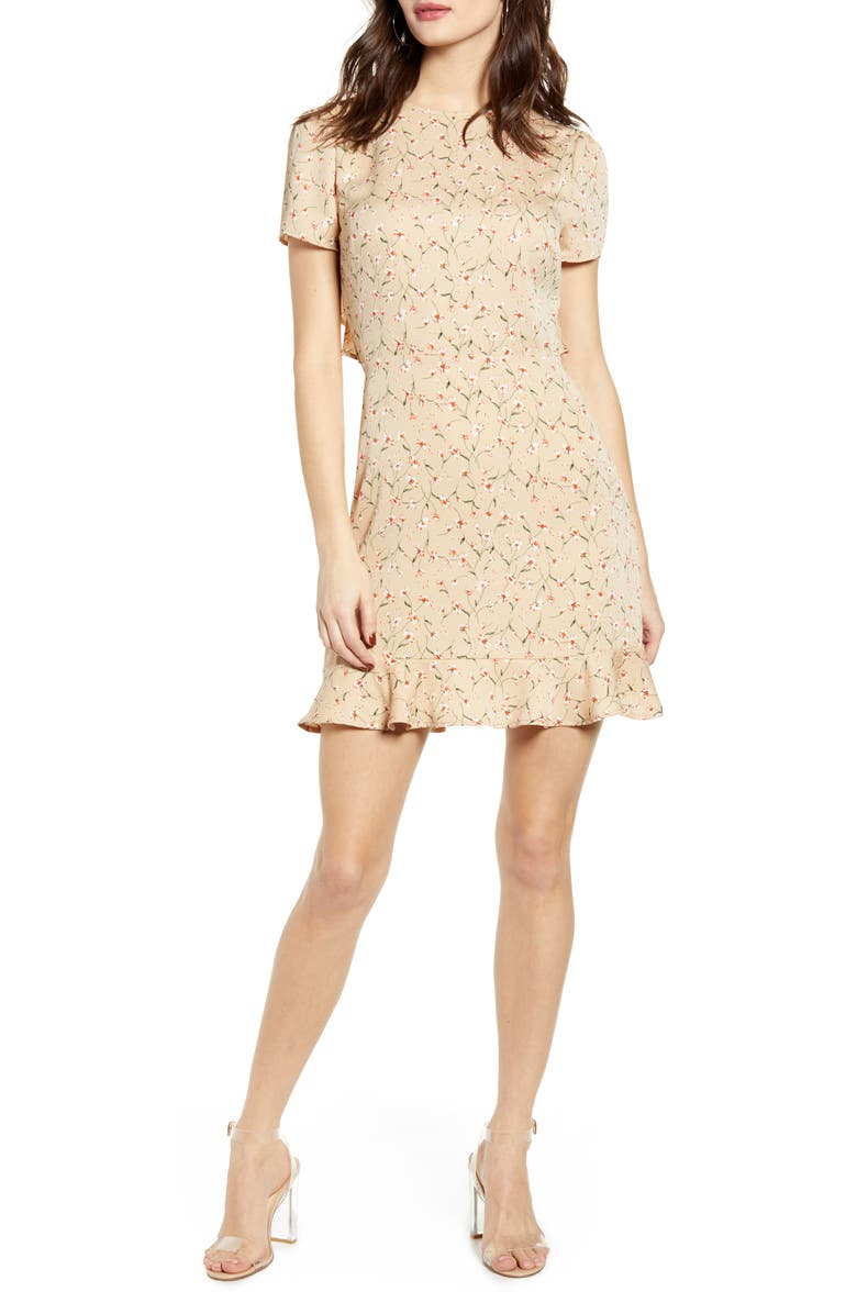 LEITH Ruffle Open Back Minidress, Main, color, TAUPE DITSY FLORAL