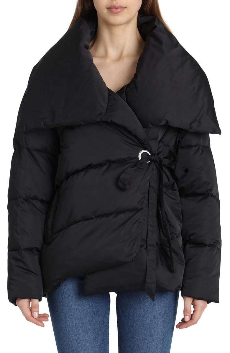 AVEC LES FILLES Wrap Puffer Jacket, Main, color, 001