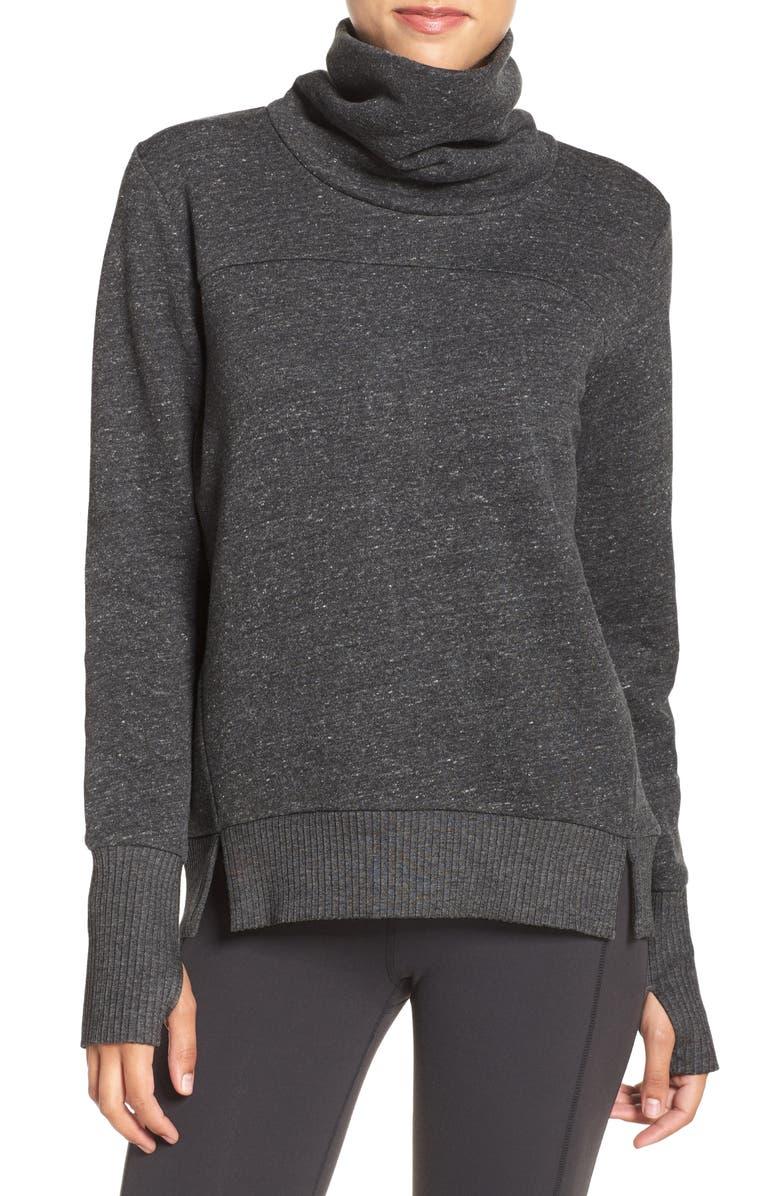 ALO Haze Funnel Neck Sweatshirt, Main, color, CHARCOAL HEATHER