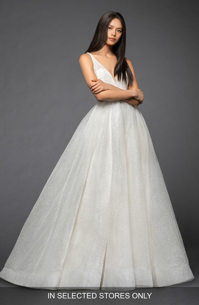 LAZARO Yesi Shimmer Tulle Ballgown, Main, color, IVORY
