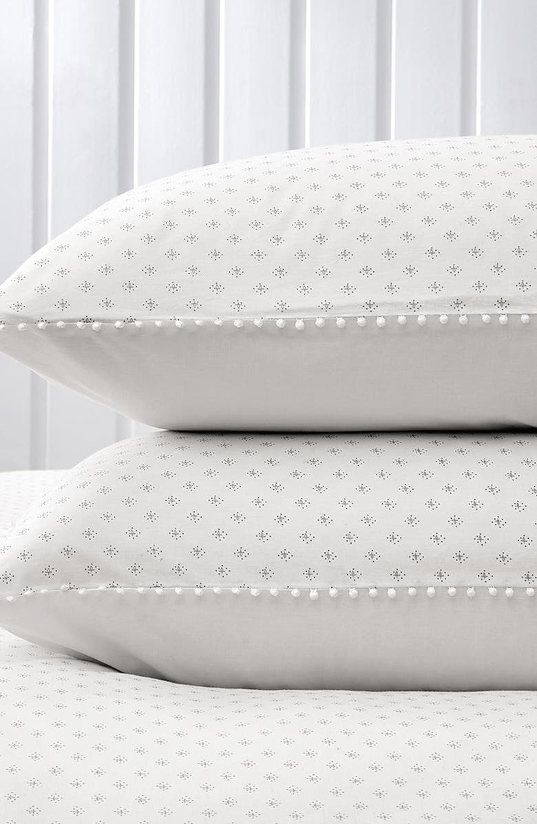 THE WHITE COMPANY Avignon Print 200 Thread Count Pillowcase, Main, color, WHITE/ GREY