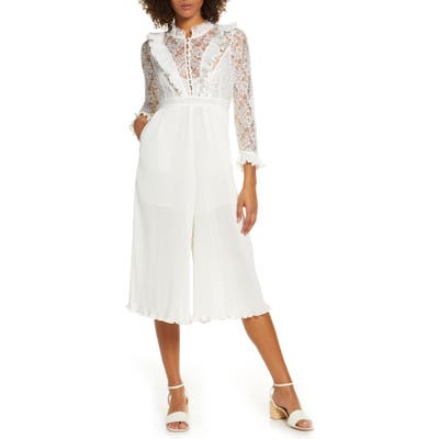 French Connection Calandre Vintage Lace Ruffle Jumpsuit, White