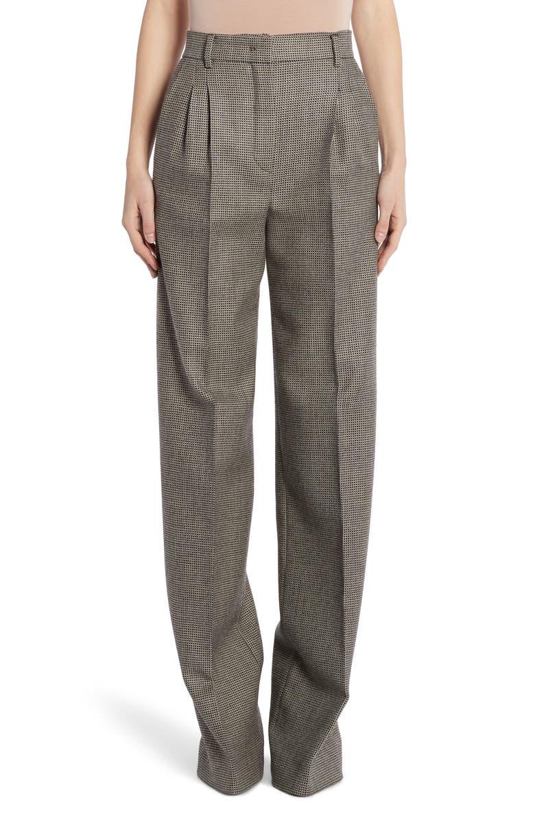 FENDI Pixel Pleated Wool Pants, Main, color, BLACK/ GREY