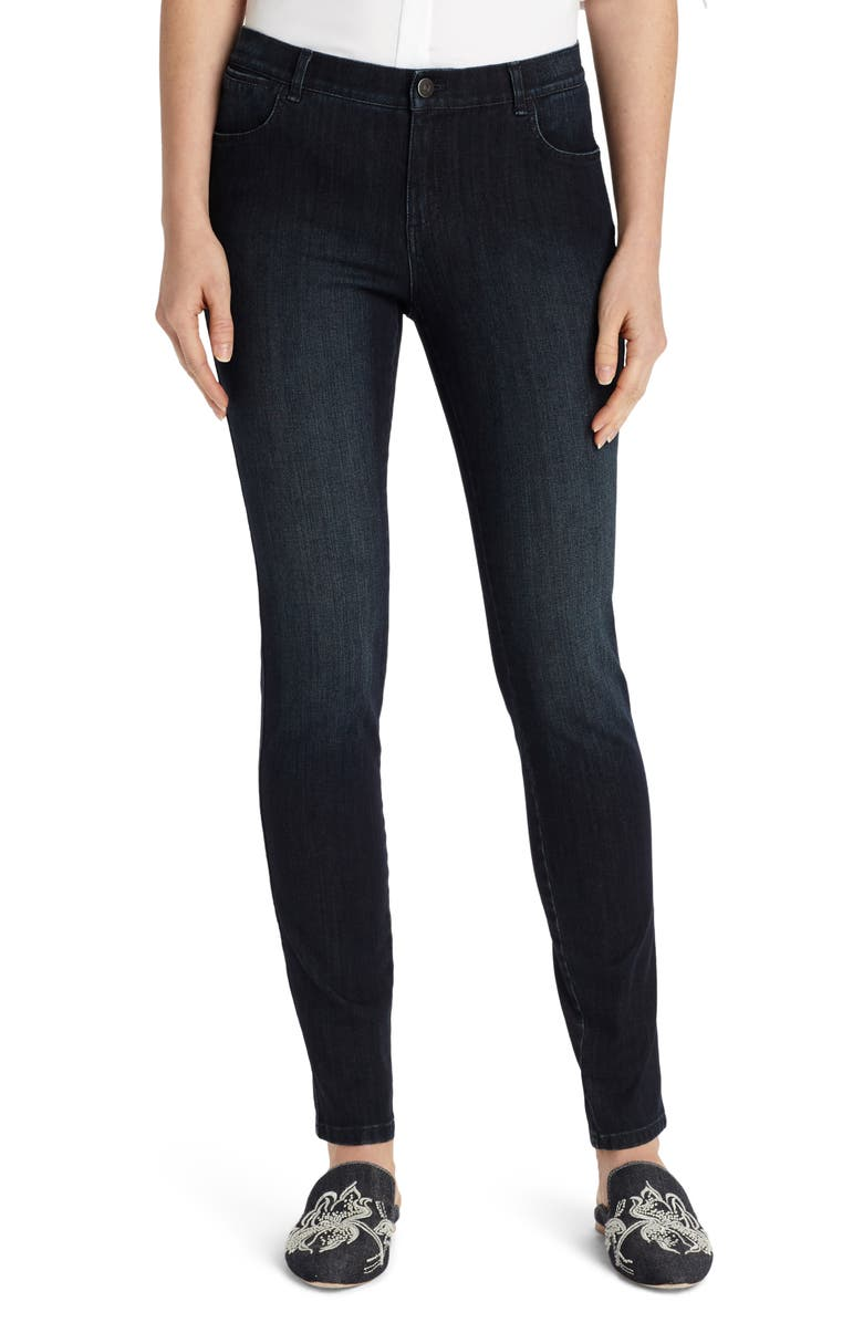 LAFAYETTE 148 NEW YORK Mercer Skinny Jeans, Main, color, BLACK