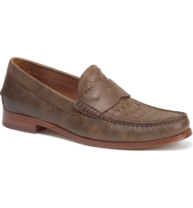 TRASK Slade Water Resistant Woven Penny Loafer, Main, color, BROWN/ BROWN LEATHER