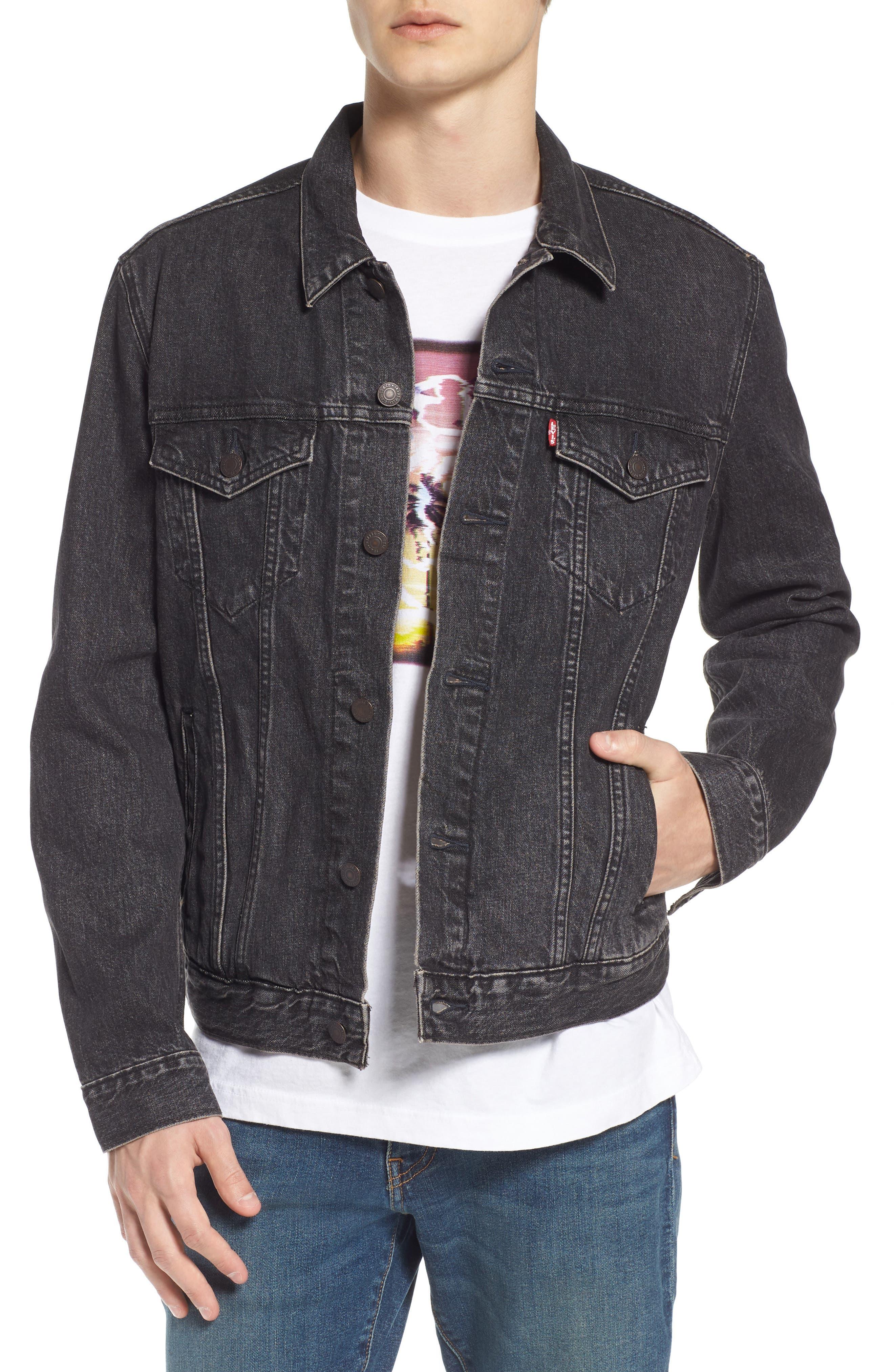 ,                             Trucker Denim Jacket,                             Main thumbnail 1, color,                             BLACK FEGIN