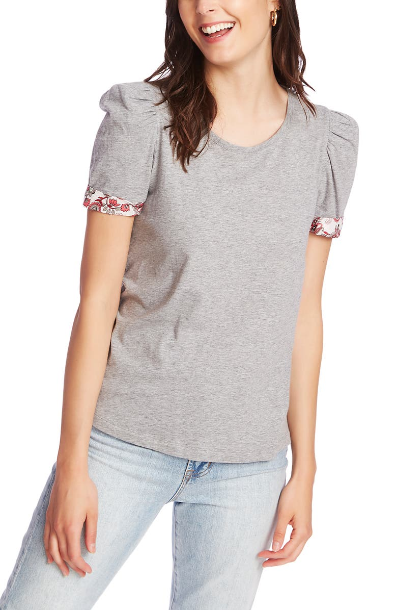 COURT & ROWE Puff Sleeve Tee with Contrast Cuffs, Main, color, 022