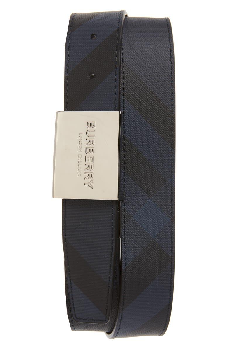 BURBERRY Logo Plaque Belt, Main, color, NAVY/ BLACK