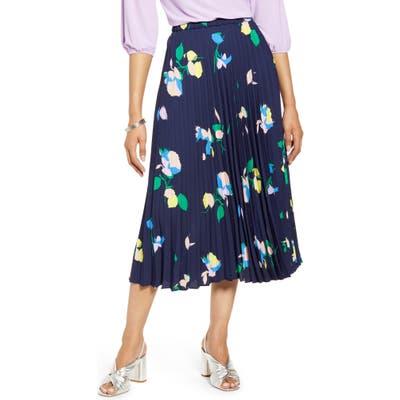 Halogen Pleated Midi Skirt, Blue